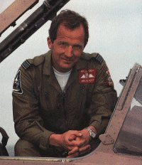 Michael Rondot next to his Gulf War Jaguar